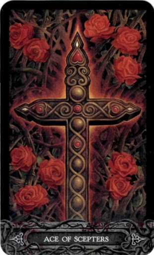 Lá Bài Ace of Scepters - Tarot of Vampyres 1