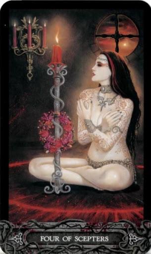 Ý nghĩa lá bài Four of Scepters trong bộ bài Tarot of Vampyres
