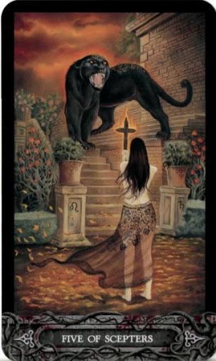Ý nghĩa lá bài Five of Scepters trong bộ bài Tarot of Vampyres