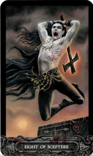 Ý nghĩa lá bài Eight of Scepters trong bộ bài Tarot of Vampyres