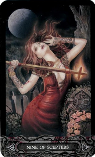 Ý nghĩa lá bài Nine of Scepters trong bộ bài Tarot of Vampyres