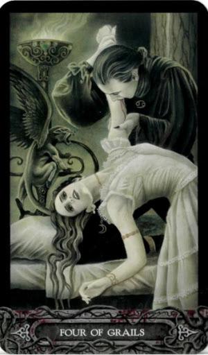 Ý nghĩa lá bài Four of Grails trong bộ bài Tarot of Vampyres