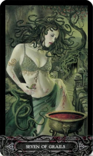 Ý nghĩa lá bài Seven of Grails trong bộ bài Tarot of Vampyres