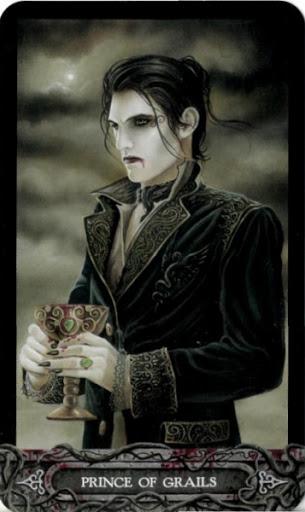 Ý nghĩa lá bài Prince of Grails trong bộ bài Tarot of Vampyres