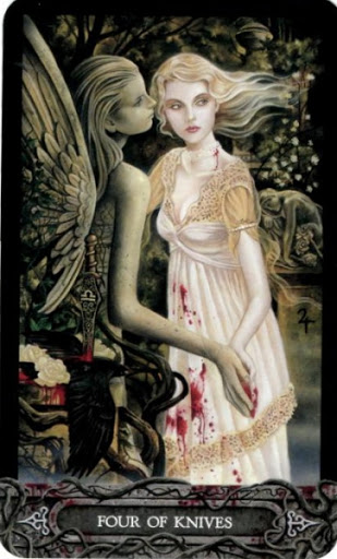 Ý nghĩa lá bài Four of Knives trong bộ bài Tarot of Vampyres