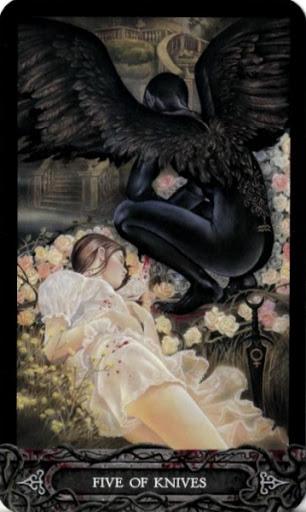 Ý nghĩa lá bài Five of Knives trong bộ bài Tarot of Vampyres