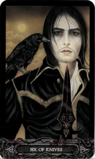 Ý nghĩa lá bài Six of Knives trong bộ bài Tarot of Vampyres