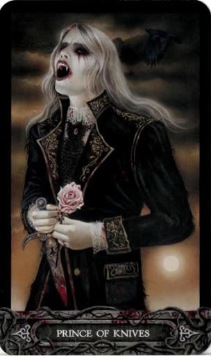Ý nghĩa lá bài Prince of Knives trong bộ bài Tarot of Vampyres
