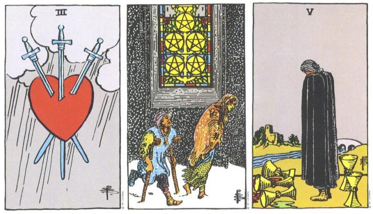 So Sánh 3 of Swords – 5 of Pentacles – 5 of Cups: Nỗi Đau Liệu Có Giống Nhau?