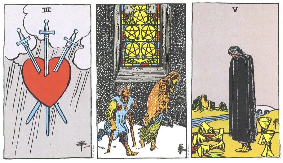 So Sánh 3 of Swords - 5 of Pentacles - 5 of Cups: Nỗi Đau Liệu Có Giống Nhau?
