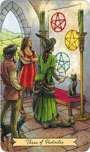 Ý nghĩa lá Three of Pentacles trong bộ bài Everyday Witch Tarot