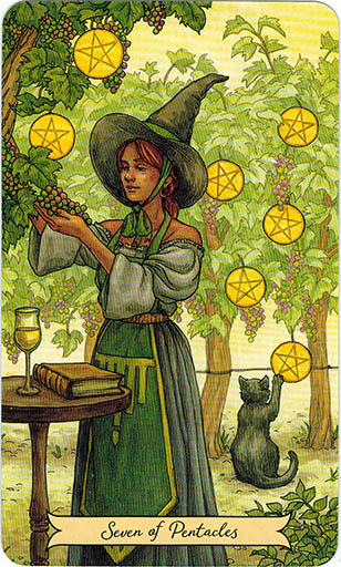 Ý nghĩa lá Seven of Pentacles trong bộ bài Everyday Witch Tarot
