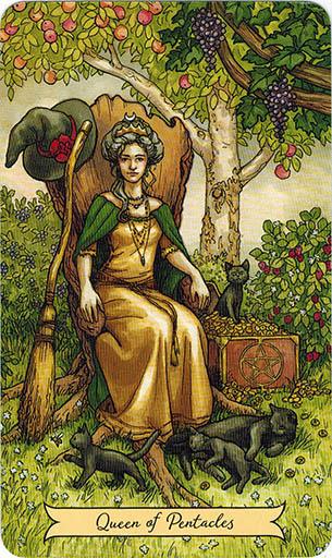 Ý nghĩa lá Queen of Pentacles trong bộ bài Everyday Witch Tarot