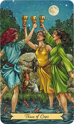 Ý nghĩa lá Three of Cups trong bộ bài Everyday Witch Tarot