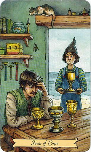 Ý nghĩa lá Four of Cups trong bộ bài Everyday Witch Tarot
