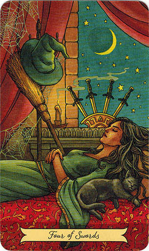 Ý nghĩa lá Four of Swords trong bộ bài Everyday Witch Tarot