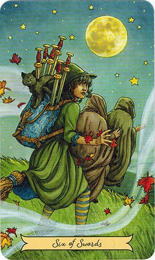 Ý nghĩa lá Six of Swords trong bộ bài Everyday Witch Tarot