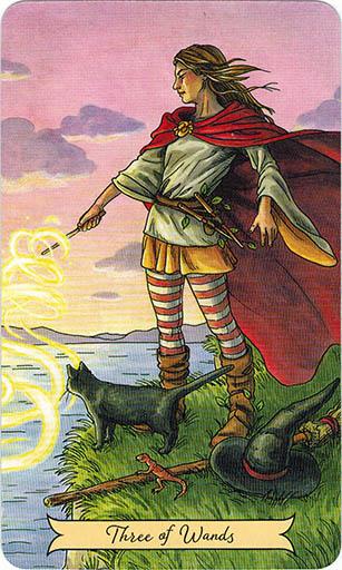 Ý nghĩa lá Three of Wands trong bộ bài Everyday Witch Tarot