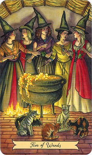 Ý nghĩa lá Five of Wands trong bộ bài Everyday Witch Tarot