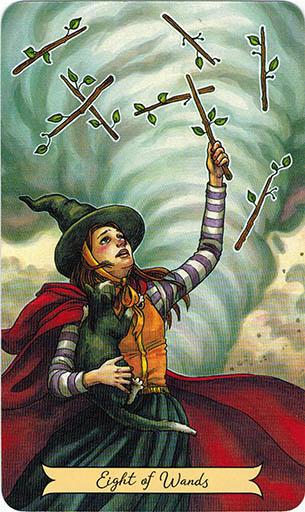 Ý nghĩa lá Eight of Wands trong bộ bài Everyday Witch Tarot