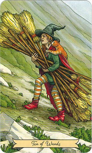 Ý nghĩa lá Ten of Wands trong bộ bài Everyday Witch Tarot