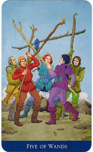 Ý nghĩa lá Five of Wands trong bộ bài Llewellyn's Classic Tarot