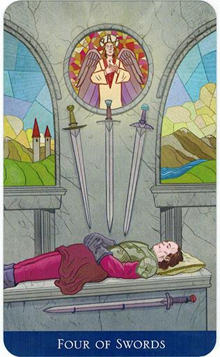 Ý nghĩa lá Four of Swords trong bộ bài Llewellyn's Classic Tarot
