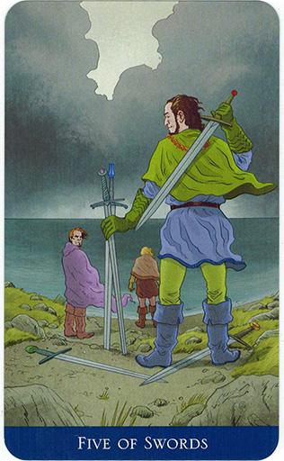 Ý nghĩa lá Five of Swords trong bộ bài Llewellyn's Classic Tarot