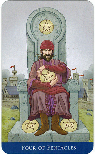 Ý nghĩa lá Four of Pentacles trong bộ bài Llewellyn's Classic Tarot