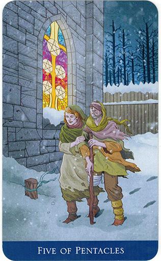 Ý nghĩa lá Five of Pentacles trong bộ bài Llewellyn's Classic Tarot
