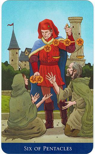 Ý nghĩa lá Six of Pentacles trong bộ bài Llewellyn's Classic Tarot