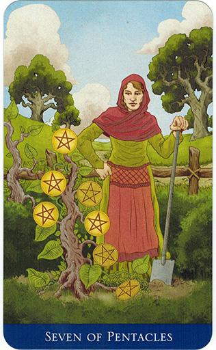 Ý nghĩa lá Seven of Pentacles trong bộ bài Llewellyn's Classic Tarot