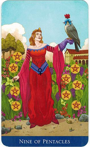 Ý nghĩa lá Nine of Pentacles trong bộ bài Llewellyn's Classic Tarot