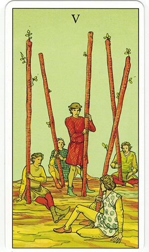 Ý nghĩa lá Five of Wands trong bộ bài After Tarot