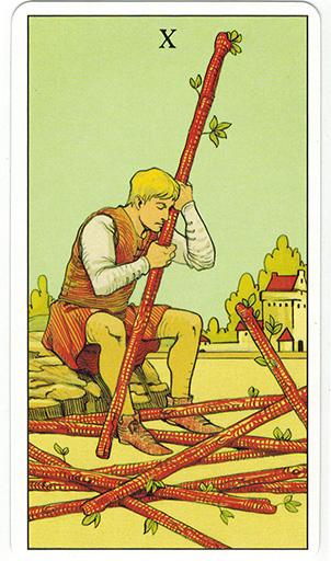 Ý nghĩa lá Ten of Wands trong bộ bài After Tarot