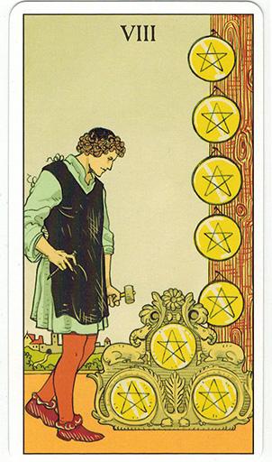 Ý nghĩa lá Eight of Pentacles trong bộ bài After Tarot