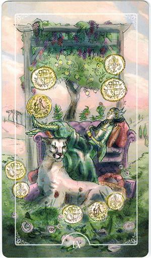 Ý nghĩa lá IX Coins trong bộ bài Ostara Tarot