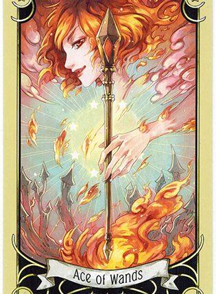 Lá Ace of Wands – Mystical Manga Tarot
