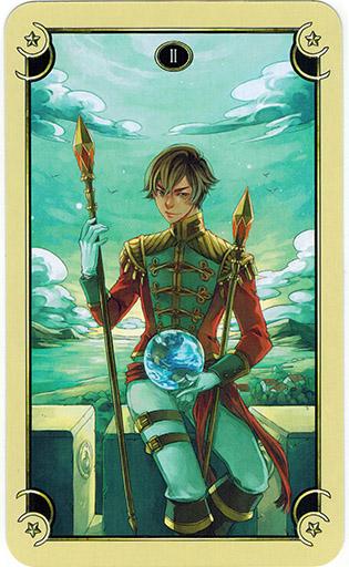 Ý nghĩa lá Two of Wands trong bộ bài Mystical Manga Tarot