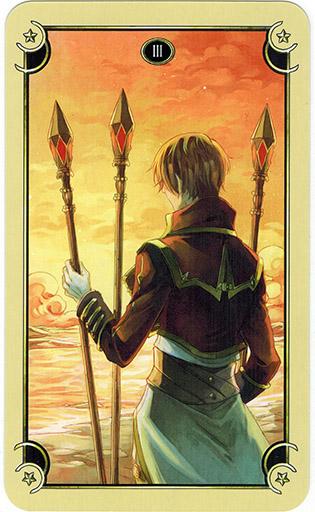 Ý nghĩa lá Three of Wands trong bộ bài Mystical Manga Tarot