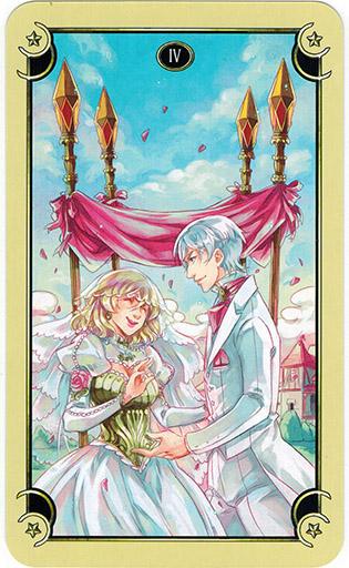Ý nghĩa lá Four of Wands trong bộ bài Mystical Manga Tarot