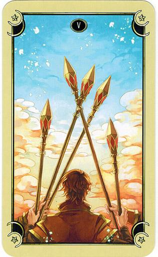 Ý nghĩa lá Five of Wands trong bộ bài Mystical Manga Tarot