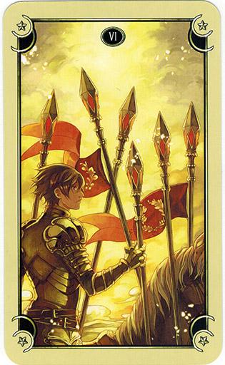 Ý nghĩa lá Six of Wands trong bộ bài Mystical Manga Tarot