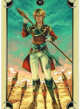 Lá Seven of Wands – Mystical Manga Tarot