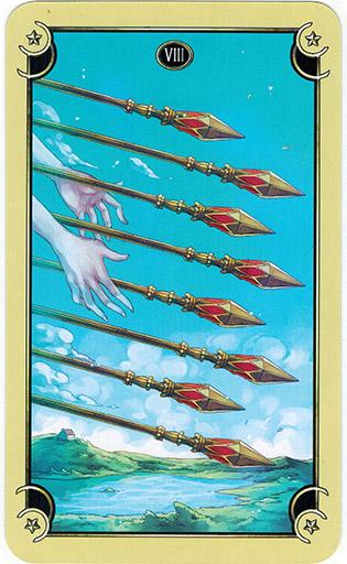 Ý nghĩa lá Eight of Wands trong bộ bài Mystical Manga Tarot