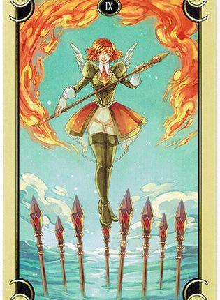 Lá Nine of Wands – Mystical Manga Tarot