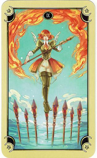 Ý nghĩa lá Nine of Wands trong bộ bài Mystical Manga Tarot