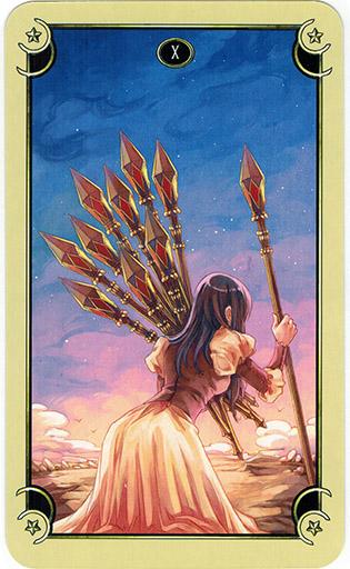 Ý nghĩa lá Ten of Wands trong bộ bài Mystical Manga Tarot