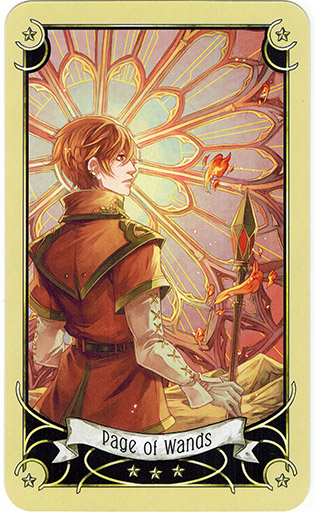 Ý nghĩa lá Page of Wands trong bộ bài Mystical Manga Tarot