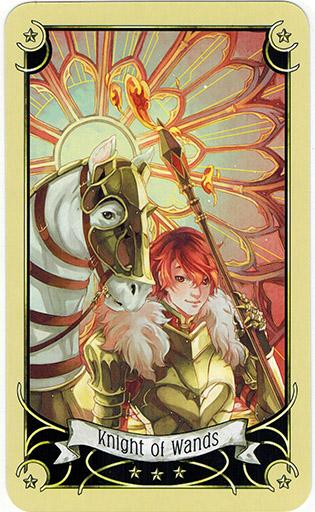 Ý nghĩa lá Knight of Wands trong bộ bài Mystical Manga Tarot